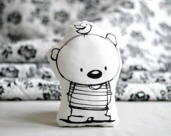 Animal pillow with TEDDY BEAR Stuffed pillow Mini pillow Decorative pillow Nursery decor Illustrated cushion Black white Scandinavian style