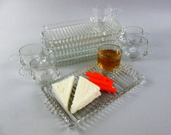 Glass Luncheon Plates, Sandwich Plates, Luncheon Plates and Cups, Glass Snack Tray, Rectangular Glass Snack Plates, Sushi Plates