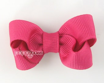 Small Hair Bow 2 Inch in Shocking Pink - Toddler Hairbow Non Slip Alligator Clip - for Baby Girls