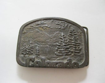 Colorado Belt Buckle Western State Outdoors Mountains Pine Forests Free US Shipping  - FL