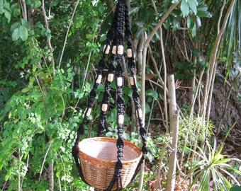 Black 38 1/2 Inch Beads Macrame Plant Hanger