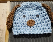 Baby Puppy Hat / blue brown puppy dog hat / newborn puppy hat / toddler puppy hat Earflap Hats baby shower gift toddler Prop