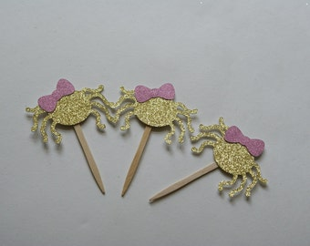 Itsy Bitsy Spider Cupcake Toppers,  Itsy Bitsy Spider Birthday,  Spider Party, Gold and Pink, Itsy Bitsy Spider Decorations  (ITSY-GP)
