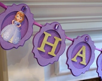 Sofia the First Inspired Banner, Purple and Gold Banner, Princess Banner, Sofia the First Party Decorations, Girl Birthday Party Supplies