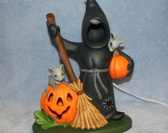 Ceramic Halloween Ghoul with Jack O Lantern with Mice Hand Painted and Lighted Holiday Decor
