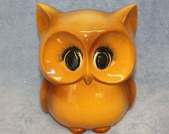 Handpainted Ceramic Owl golden browns with my signature eyes and eye lashes