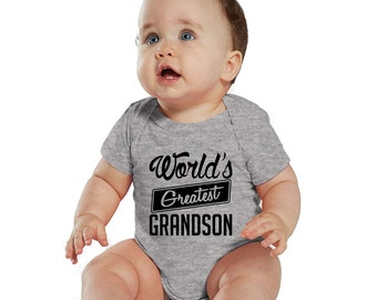 World's Greatest Grandson Heather baby Bodysuit or Kids Shirt