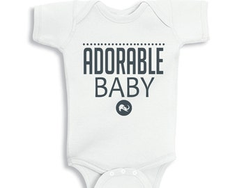 Adorable Baby White bodysuit or Kids Shirt Charcoal