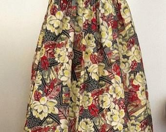 Vintage 1940s Tiki Hawaiian Novelty Print Skirt. Cotton. Small. 24-25 Waist.