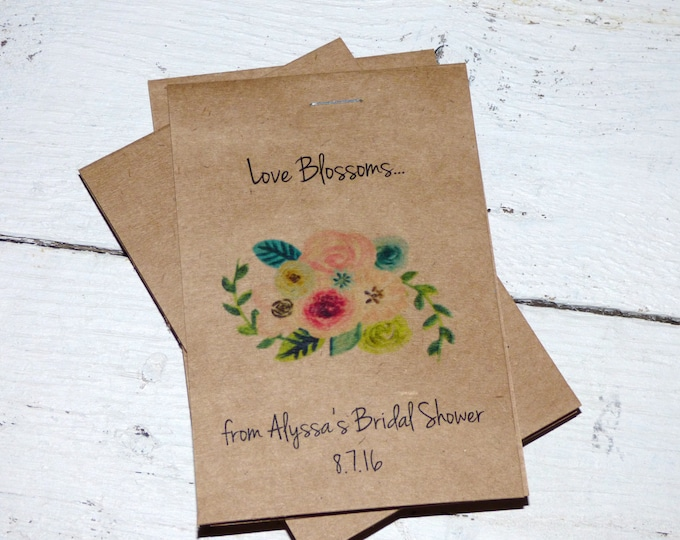 Rustic Kraft Design Floral Wildflowers Let Love Grow Flower Seed Packet Favor Shabby Chic Cute Favors Bridal Shower Wedding Birthday
