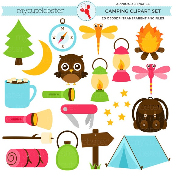 Camping Clipart Set Torch Lantern Tent Backpack Camp Clip - Camping clip art
