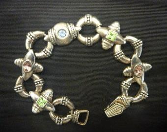 Vintage SILVER COLORED GEM Bracelet