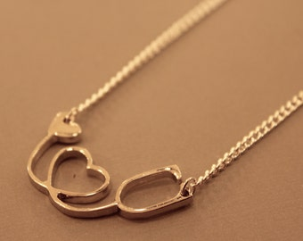 Stethoscope Necklace: Heart Stethoscope, Nurse Necklace, Doctor, Health Care, Heart Beat, Heart Beat Necklace