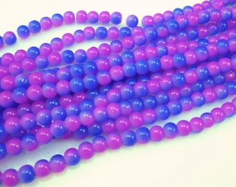 100 * 4mm Fuchsia & Blue Round Glass Beads, Glass Beads, 4mm Beads, Bright Beads, Smooth Beads, Jewelry Supplies, Beading Supplies, Supplies