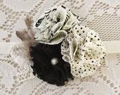 Polka Dot Baby Girl Headband - Black and Off White Headband