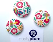Liberty of London New 2016 Fabric Covered Button Magnets Super Large 38mm x Pretty Folk Floral Pink Blue Green