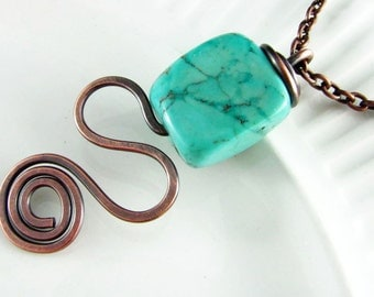 Wire Wrapped Necklace Turquoise Necklace Copper Wire Wrapped Jewelry Free Form Wire Wrap Copper Necklace Wire Wrapped Pendant