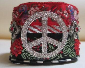 Cuff Bracelet Red Black Peace Sign