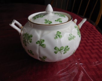 Vintage 1950s to 1960s Aynsley England Sugar Bowl With Lid Not Perfect  #29 English Bone China With Green Clovers/Shamrocks Handles Display