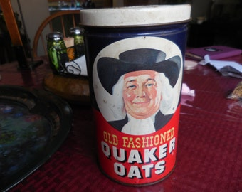 Vintage 1980s Quaker Oats Tin Metal Storage Kitchen Decor Collectible Round Red Blue