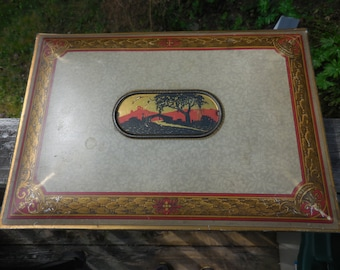 Vintage 1920s to 1930s Canco Tin Hinged Box Storage/Organize Southwestern Scene Red/Gold Rectangle Metal Box