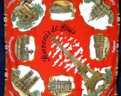 "Paris Landmarks: Vintage Roger Lahmy Souvenir Scarf - Great ""Guess Where We're Going?"" Gift"
