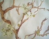Vintage Fabric with Plum Blossom Print Japanese Watercolor Style Yardage