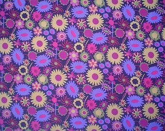 Liberty Tana Lawn Pink and Purple Floral Print on Black - Fat Quarter