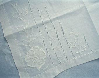 New Vintage Hankie with Embroidered Roses and Hemstitched Lines Unused Handkerchief with Label
