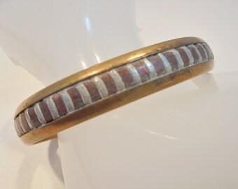 Vintage Copper Brass Silver Cuff Bracelet / Bangle Tribal Boho Retro Native 17 Grams Abstract Runway