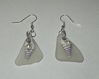 Lavender shell earrings - beach glass earrings - dangle white beach glass earrings.