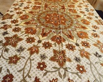 "Sale Reversible silk twin bedspread ,Art Nouveau style. Vintage ,size 77""x 59"" .Tablecloth.Gift"