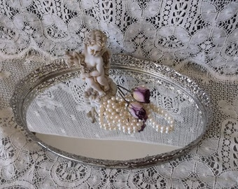 Time worn Vintage, French country elegant, metal filigree Oval vanity mirror