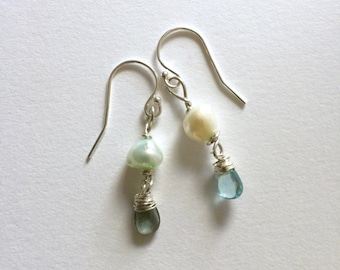Green Pearl, Silver Earrings, Labradorite, Apatite , Lilyb444, GiftsforHer, Mermaid colors,
