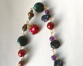 Made to order, Green, Red, brown, Blue,Purple Pearl, Amethyst, autumn, Goldfill bracelet, Lilyb444
