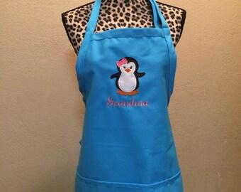 Women's Penguin Chef Kitchen Apron Personalized Free