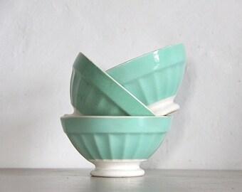 RESERVEDAntique Cafe Au Lait Bowl, Shabby Chic, Eau De Nil, Sarreguemines Set Of 3 Bowls