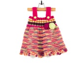 Knitted Baby Girl Dress - Pink, Yellow and Neon Green, 9 - 12 months