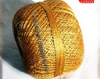 Hypoallergenic Viscose Silk summer yarn Yarn. Glamor, Superfine Lace weight, crochet yarn, color bright gold (124). Ajur ball