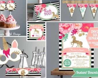 Unicorn Birthday Decorations- Pink with Glitter- Unicorn Birthday - Printable Instant Download