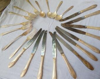 Vintage Tudor Plate Flatware, Silver Spoons, Forks, Knives, Tudor Plate Oneida Community