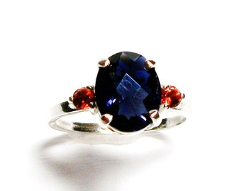 "Iolite, iolite accent ring, blue red, multi stone ring, birthday, anniversary, s 5 1/2   ""Indigo"""