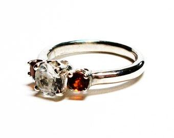 "White topaz, topaz accent ring, 3 stone ring,  red orange white, wedding engagement, anniversary, s 6 1/2   ""Candy Cane Lane"""