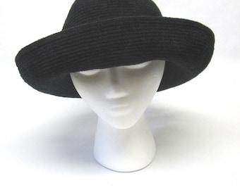 Black Hat Curled Brim Women Millinery Ladies Hat