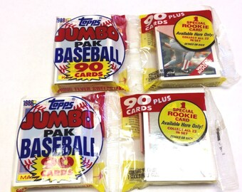 Vintage 1988 Topps Baseball Cards 2 Packs 182 Cards Total Unopened
