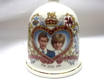 Princess Diana Prince Charles Porcelain Bell Commemorative Wedding 1981 Hexagon Studios England