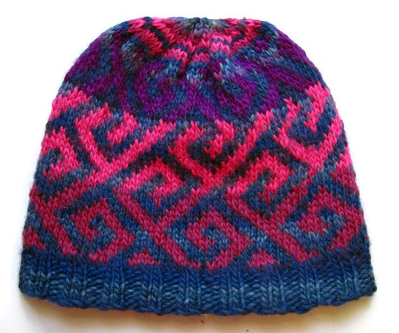 Hand Knitting Yarn Design : Hand knit wool nordic pattern fair isle hat beanie colorful