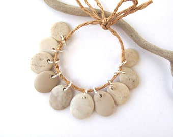 Beach Stone Charms Top Drilled Rock Beads Mediterranean River Stone Beads Diy Jewelry Natural Stone Pairs SMALL IVORY MIX 16 mm