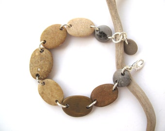 Bracelet Beach Stone Pebble Jewelry Mediterranean Beach Rock Jewelry River Stone Bracelet Natural Stone Jewellery Silver MOCCO