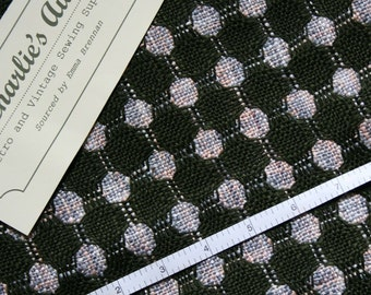 """Vintage silk mix loose weave couture tweed fabric piece with a spot design in dark olive with grey/pink spots 20""""x 28"""""""